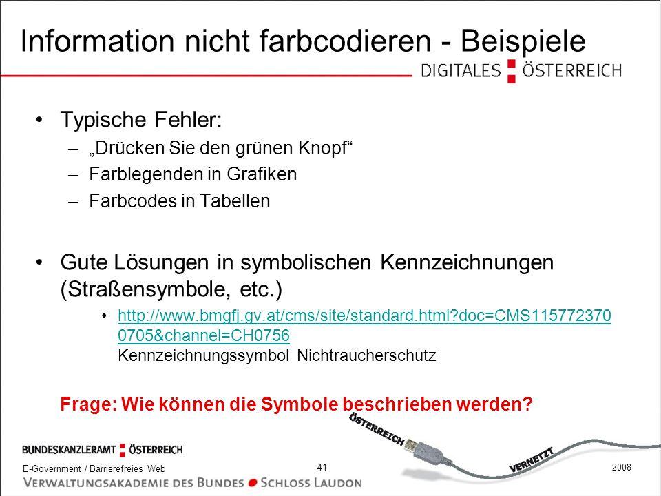 Information nicht farbcodieren - Beispiele