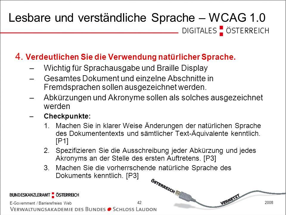 Lesbare und verständliche Sprache – WCAG 1.0