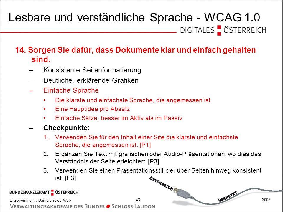 Lesbare und verständliche Sprache - WCAG 1.0