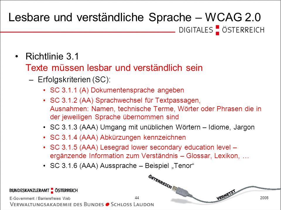 Lesbare und verständliche Sprache – WCAG 2.0