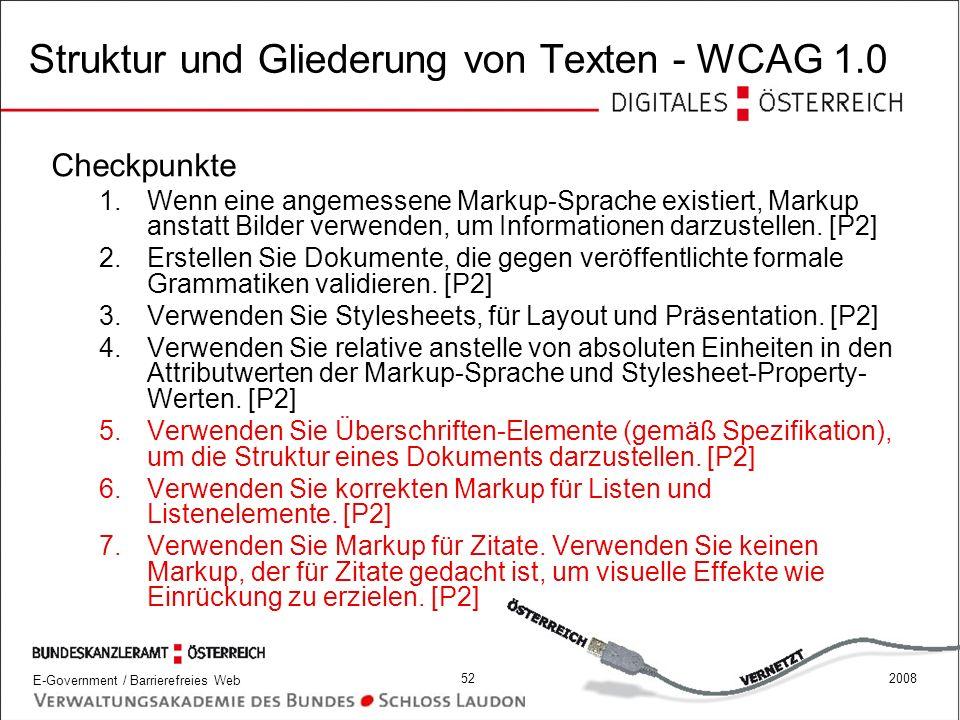 Struktur und Gliederung von Texten - WCAG 1.0