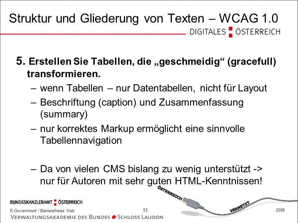 Struktur und Gliederung von Texten – WCAG 1.0