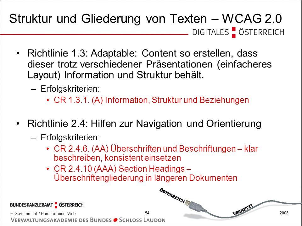 Struktur und Gliederung von Texten – WCAG 2.0