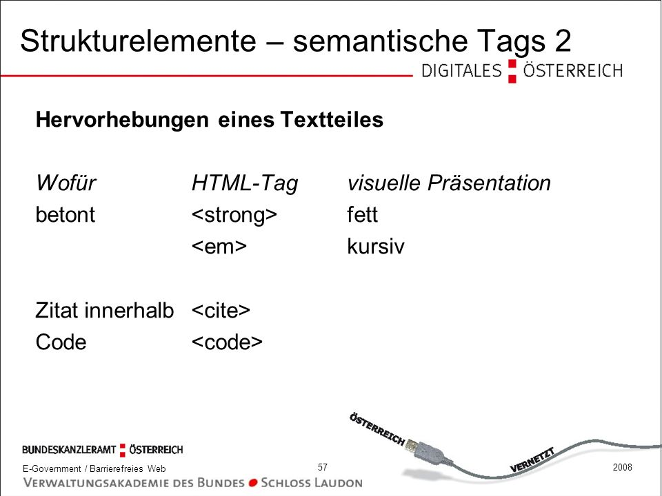 Strukturelemente – semantische Tags 2
