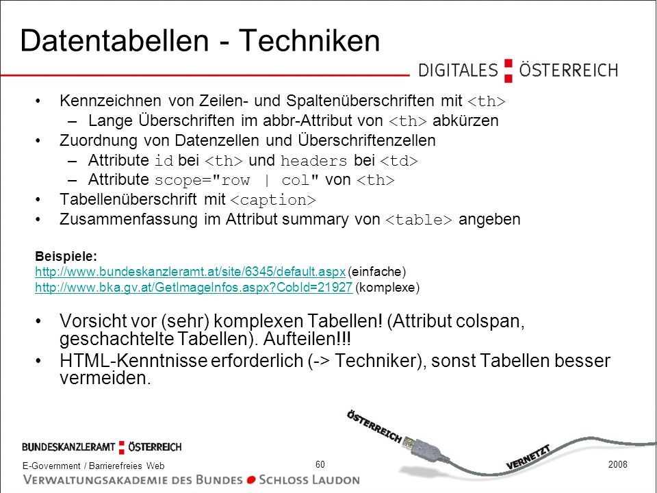 Datentabellen - Techniken