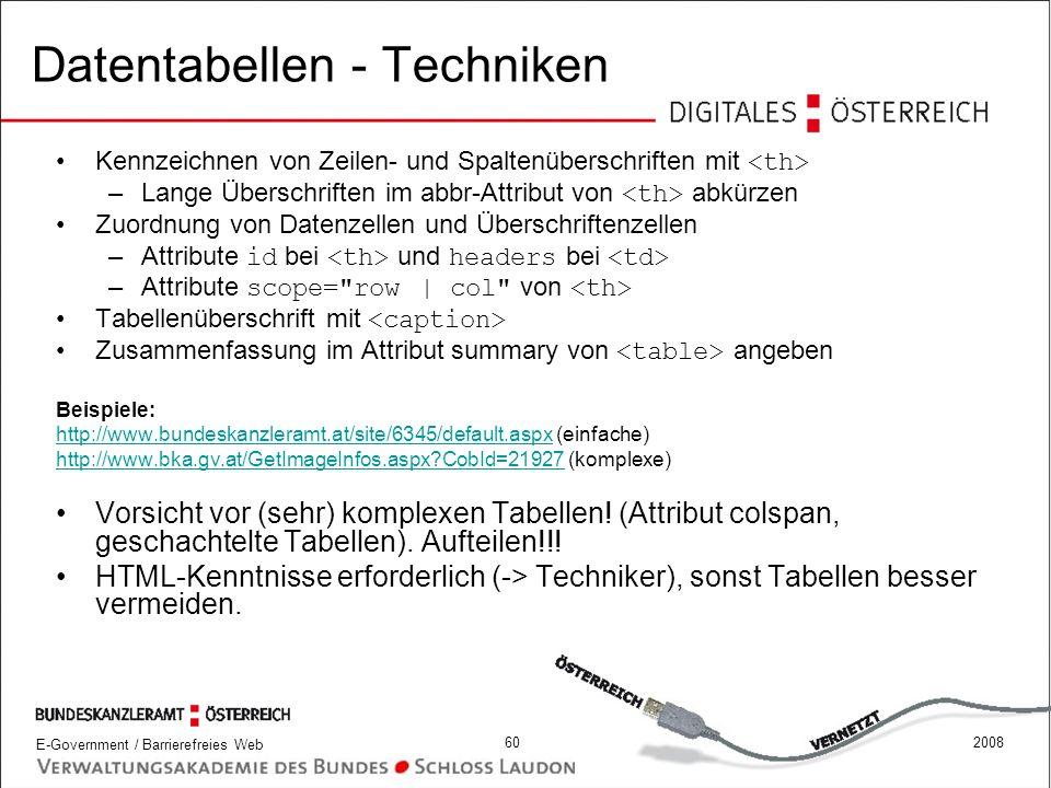 Datentabellen - Techniken