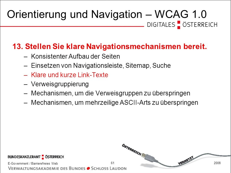 Orientierung und Navigation – WCAG 1.0