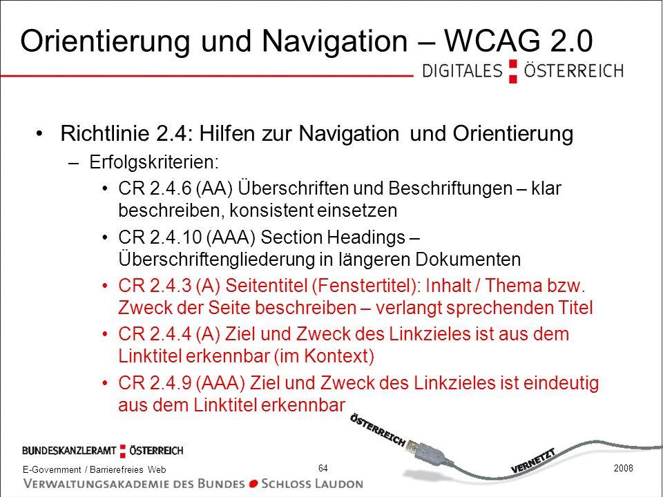 Orientierung und Navigation – WCAG 2.0