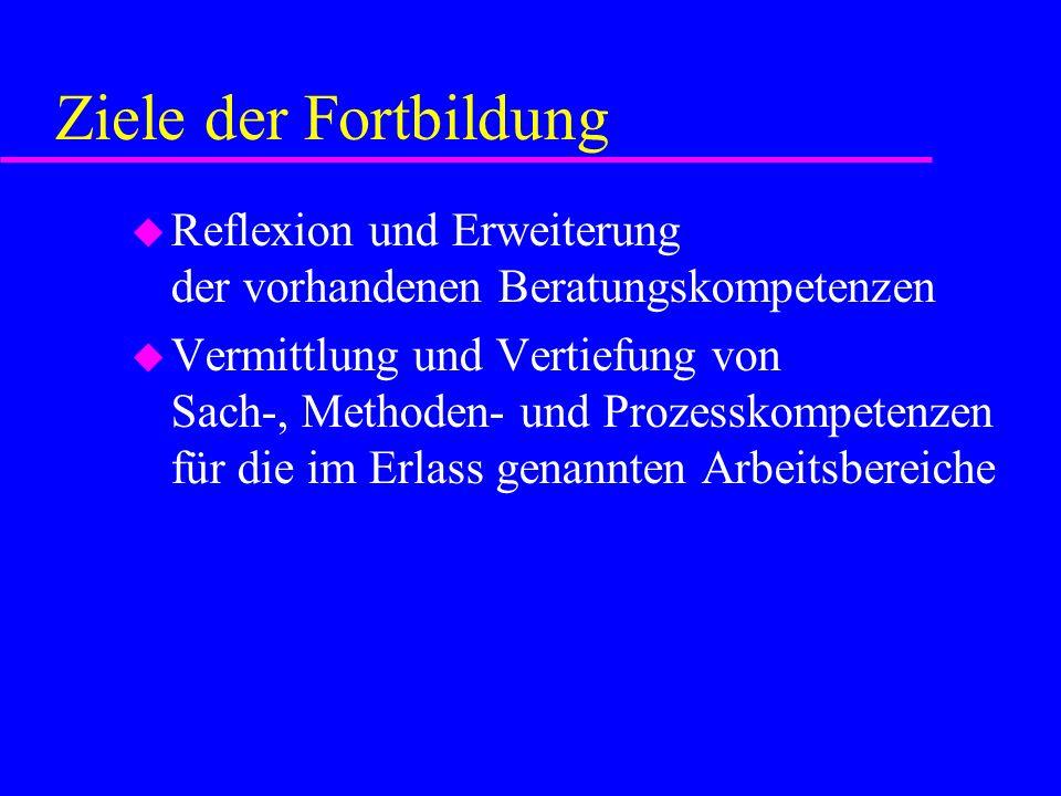 Ziele der Fortbildung Reflexion und Erweiterung der vorhandenen Beratungskompetenzen.