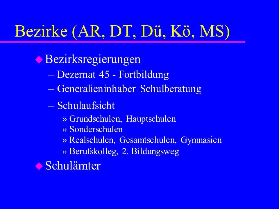 Bezirke (AR, DT, Dü, Kö, MS) Bezirksregierungen Schulämter