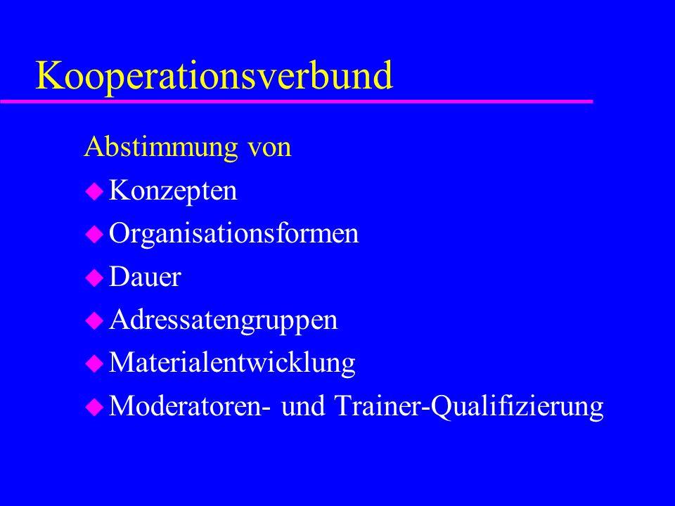 Kooperationsverbund Abstimmung von Konzepten Organisationsformen Dauer