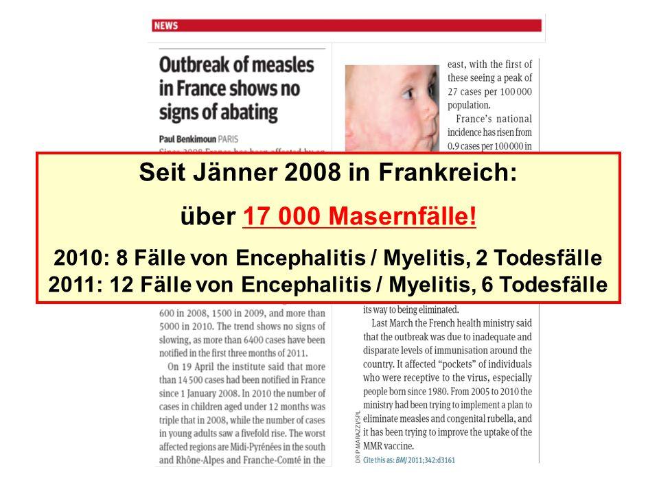 Seit Jänner 2008 in Frankreich: über 17 000 Masernfälle!