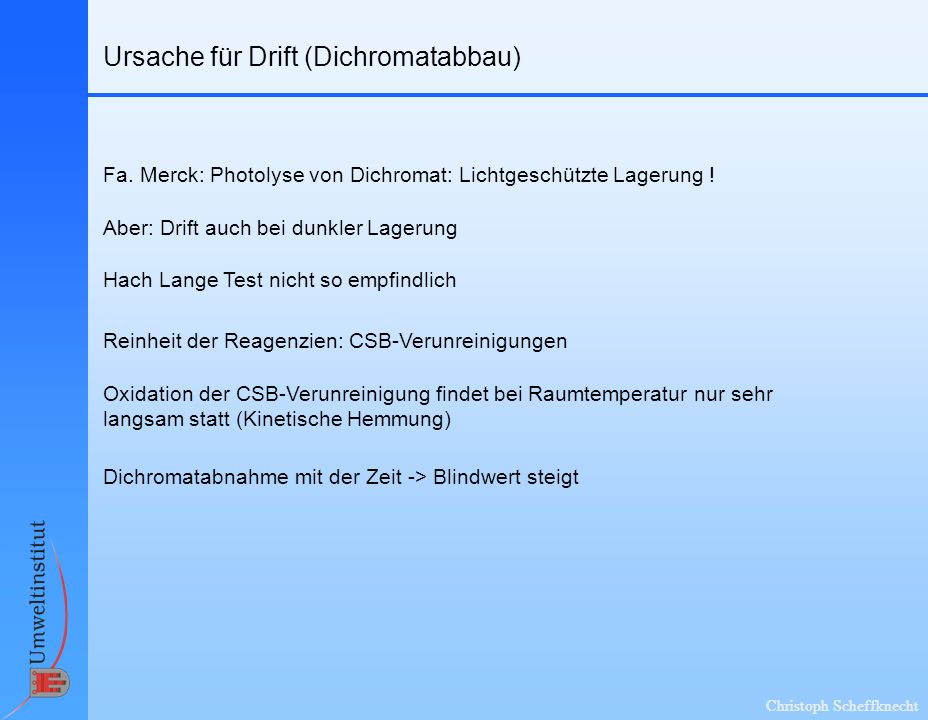 Ursache für Drift (Dichromatabbau)
