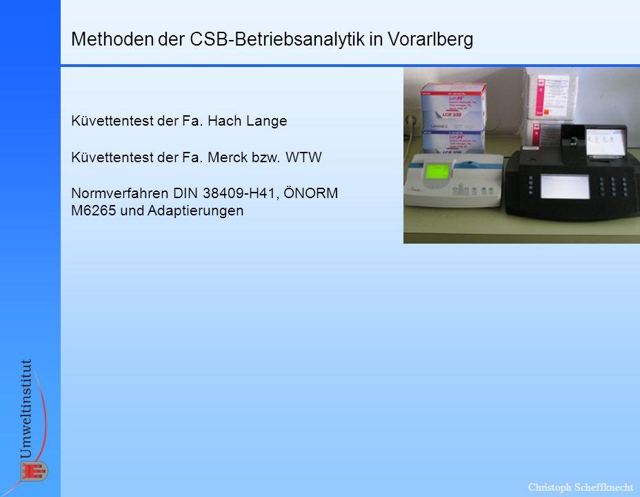 Methoden der CSB-Betriebsanalytik in Vorarlberg