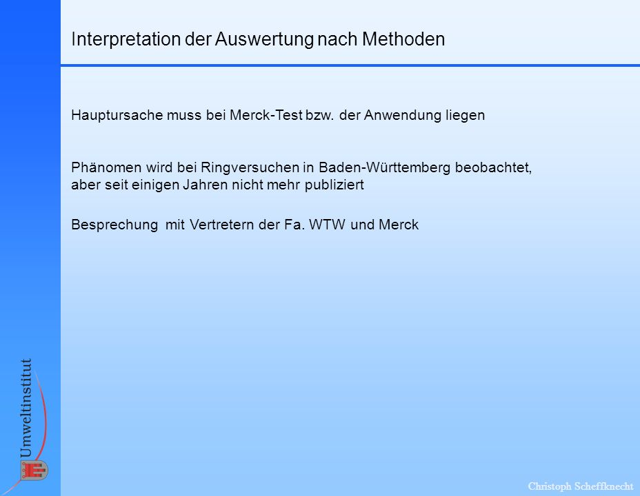 Interpretation der Auswertung nach Methoden