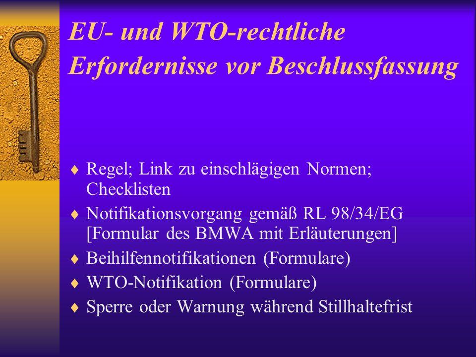 EU- und WTO-rechtliche Erfordernisse vor Beschlussfassung
