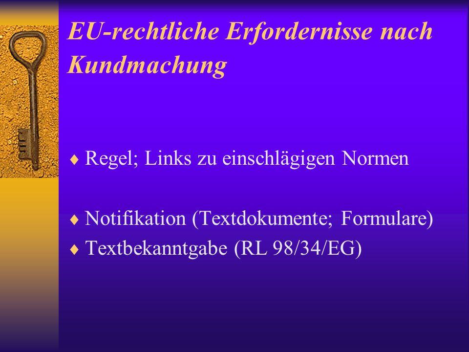 EU-rechtliche Erfordernisse nach Kundmachung