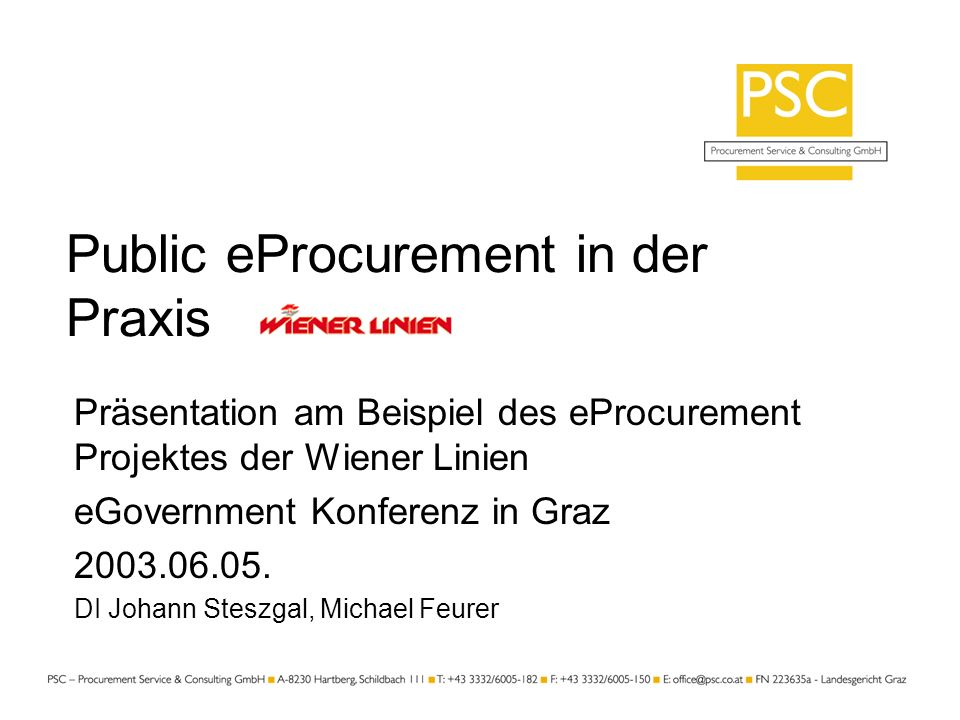 Public eProcurement in der Praxis