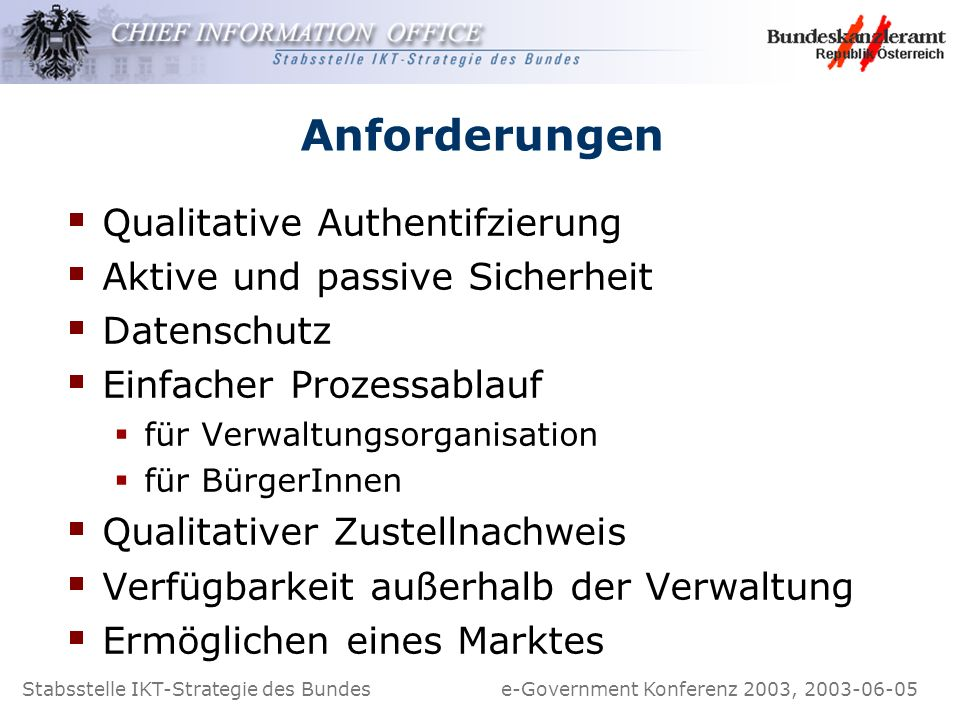 Anforderungen Qualitative Authentifzierung