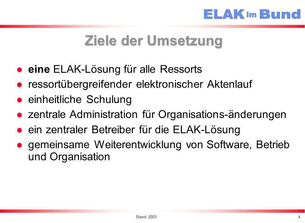Ziele der Umsetzung eine ELAK-Lösung für alle Ressorts