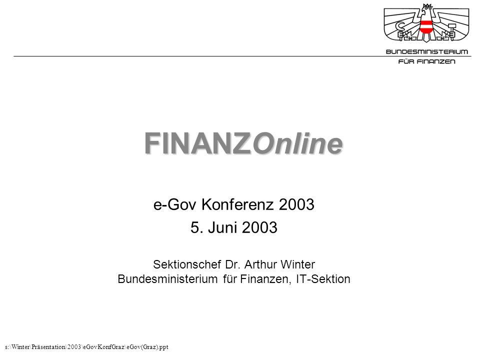 FINANZOnline e-Gov Konferenz 2003 5. Juni 2003