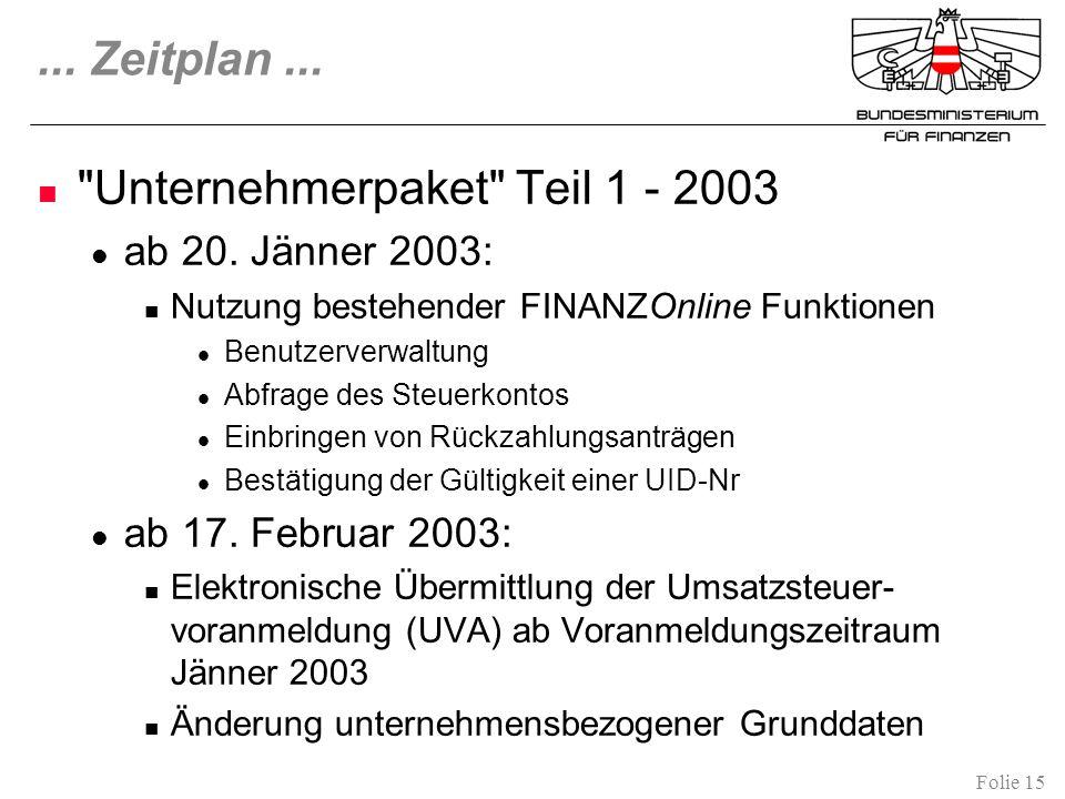 Unternehmerpaket Teil 1 - 2003