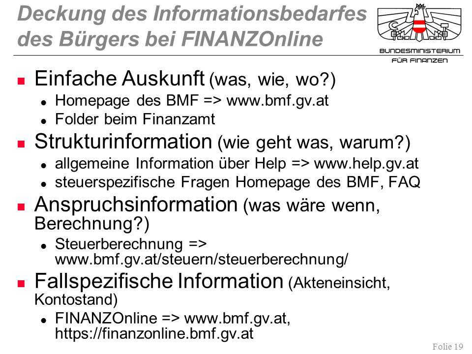 Deckung des Informationsbedarfes des Bürgers bei FINANZOnline