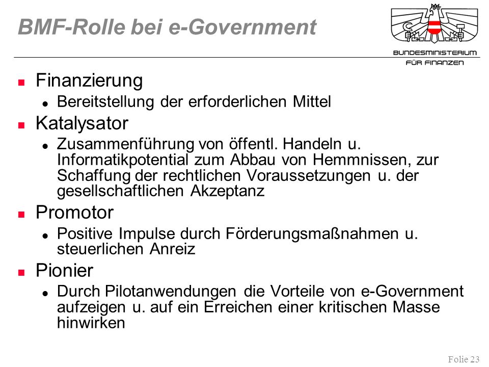 BMF-Rolle bei e-Government
