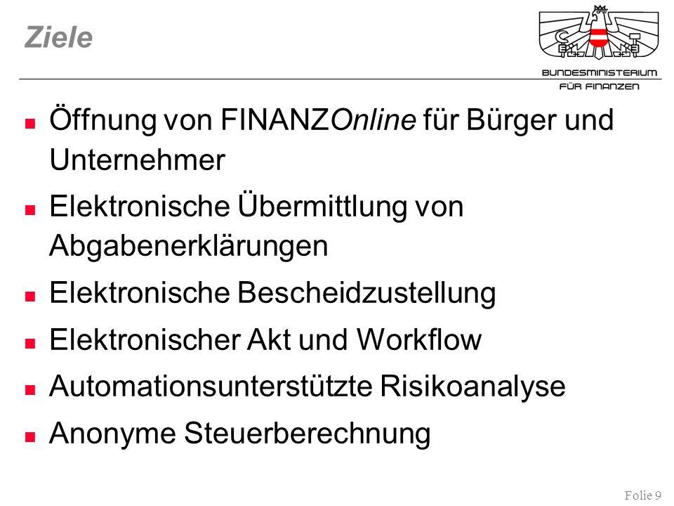 Ziele Öffnung von FINANZOnline für Bürger und Unternehmer. Elektronische Übermittlung von Abgabenerklärungen.