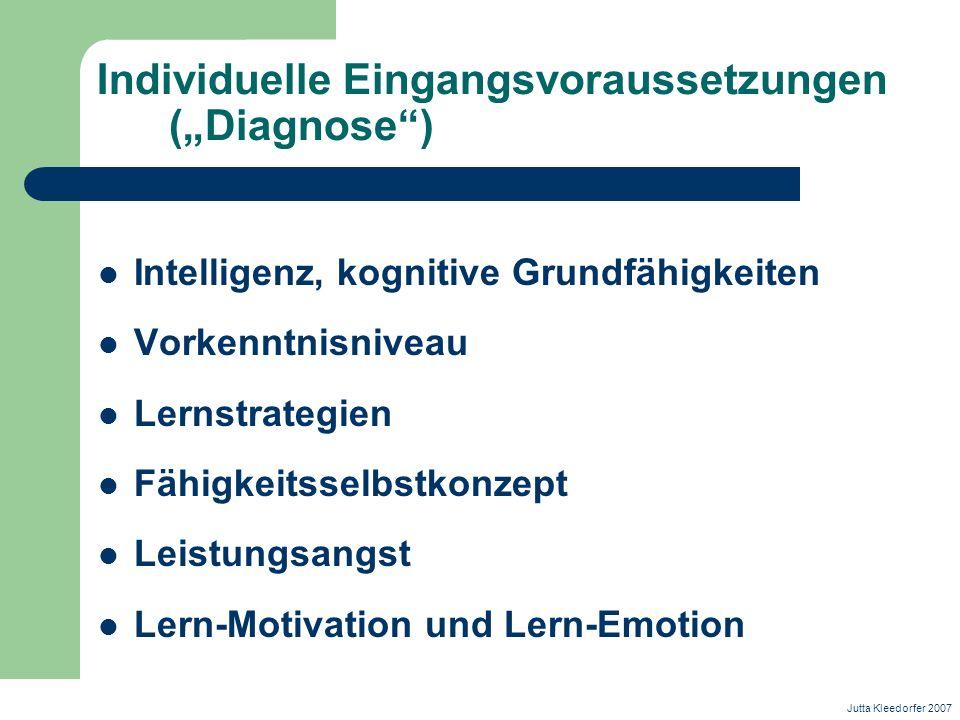 """Individuelle Eingangsvoraussetzungen (""""Diagnose )"""