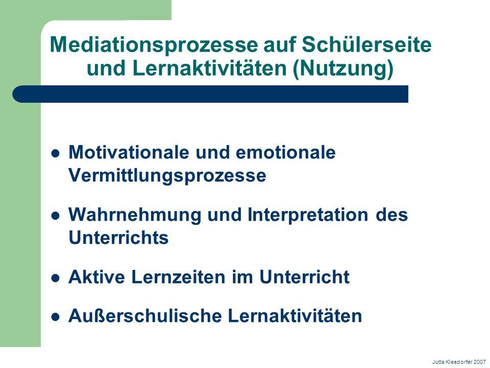 Mediationsprozesse auf Schülerseite und Lernaktivitäten (Nutzung)