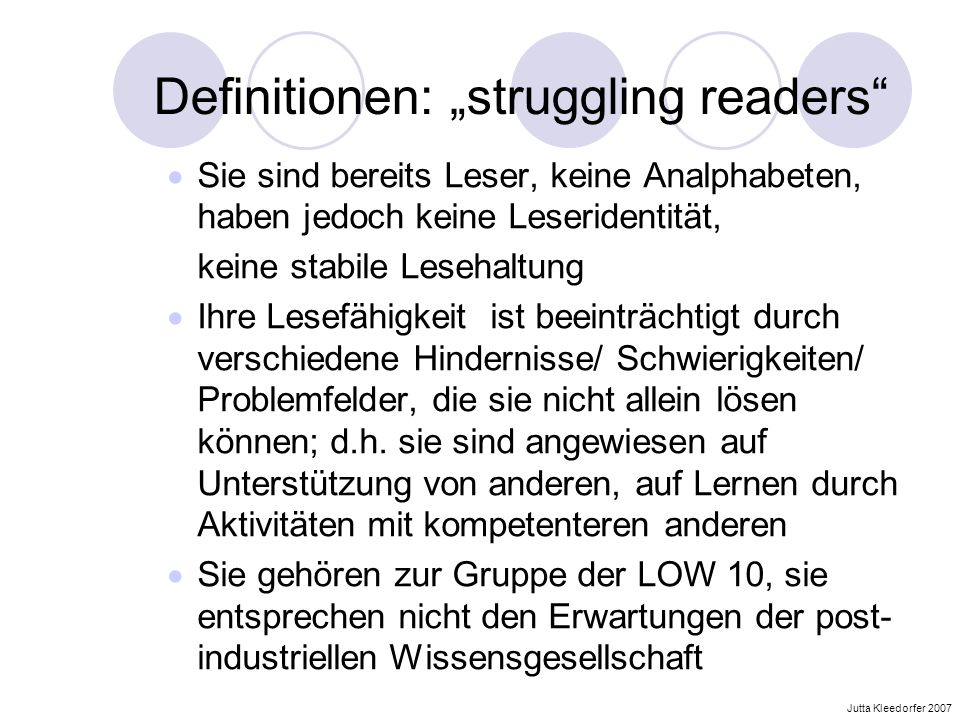 "Definitionen: ""struggling readers"
