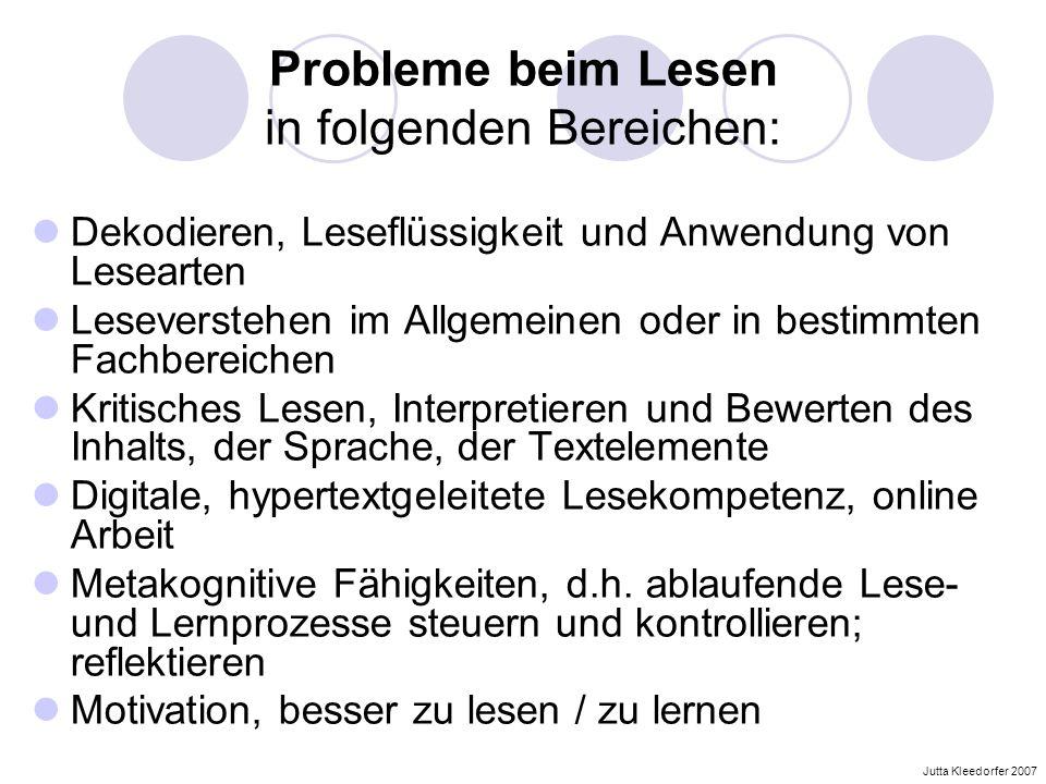 Probleme beim Lesen in folgenden Bereichen: