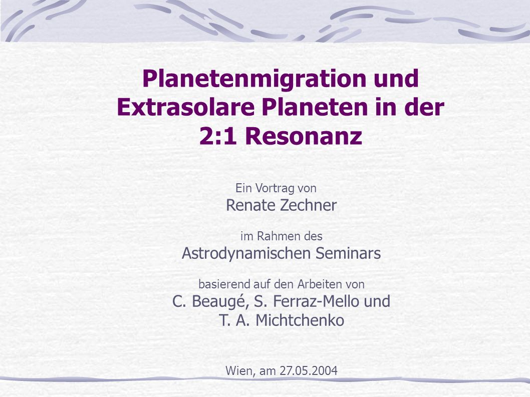 Planetenmigration und Extrasolare Planeten in der 2:1 Resonanz