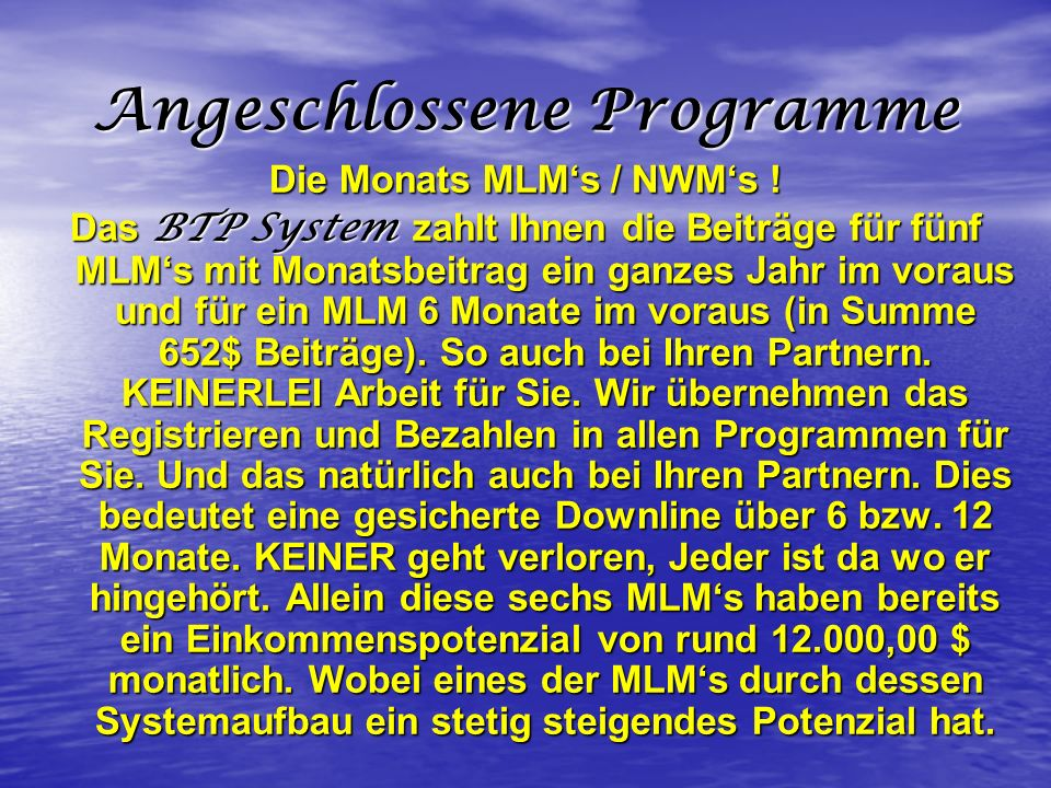 Angeschlossene Programme