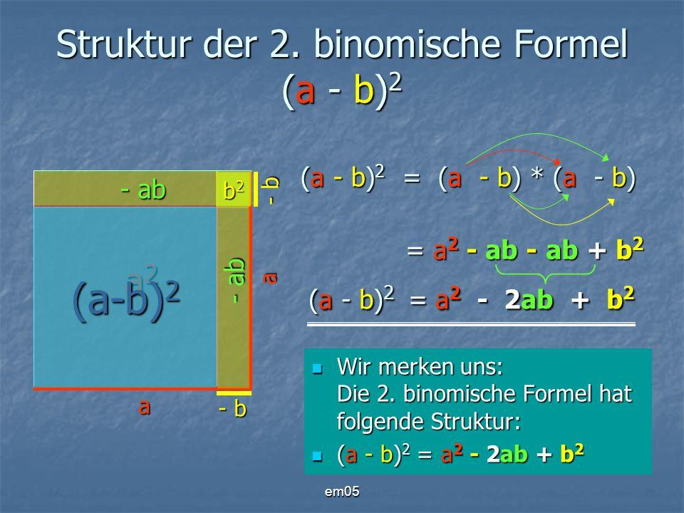 Struktur der 2. binomische Formel (a - b)2