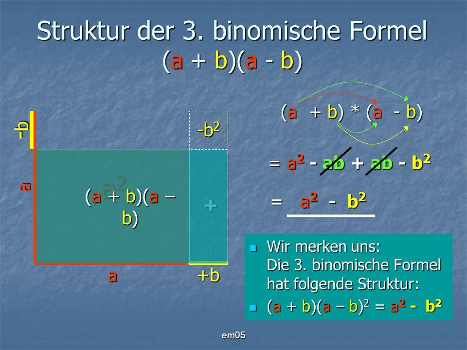 Struktur der 3. binomische Formel (a + b)(a - b)