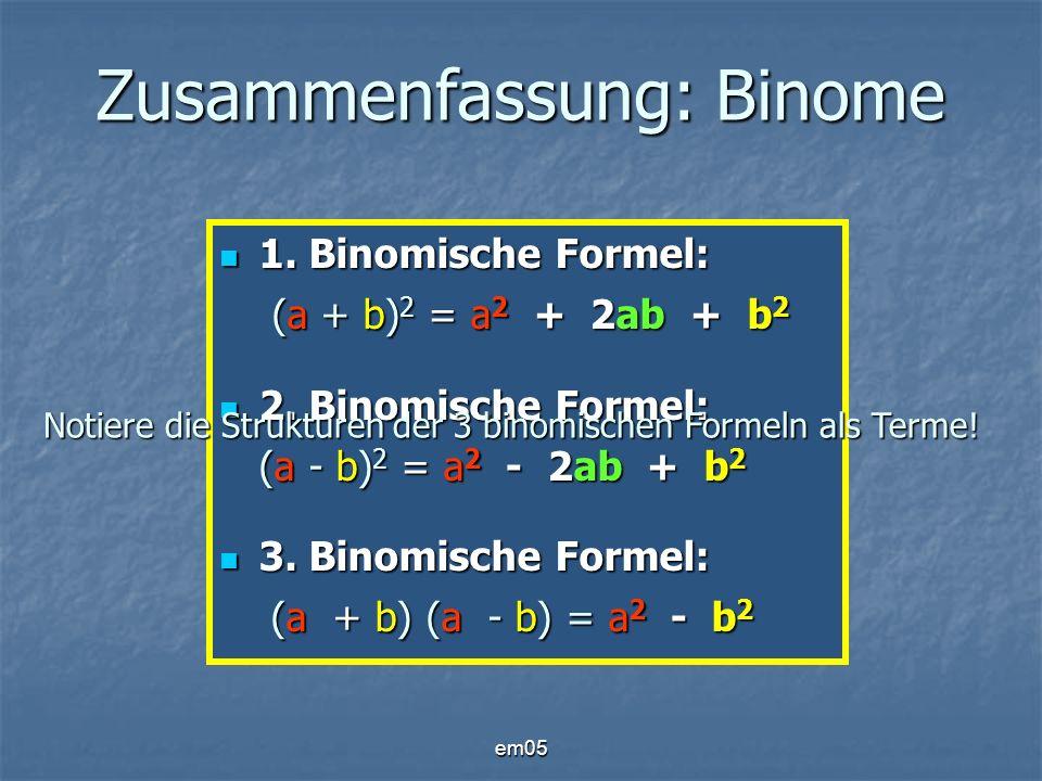 Zusammenfassung: Binome