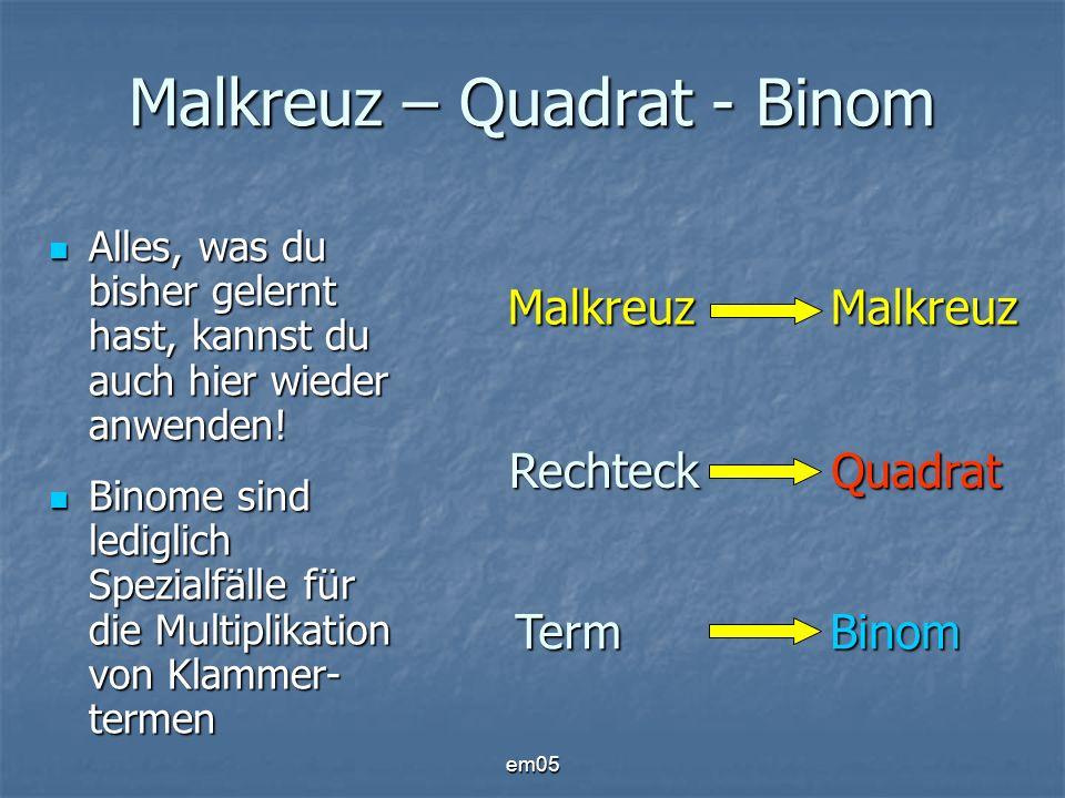 Malkreuz – Quadrat - Binom