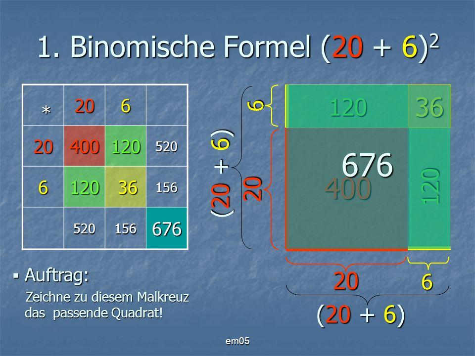 676 1. Binomische Formel (20 + 6)2 400 36 120 (20 + 6) 120 20 20
