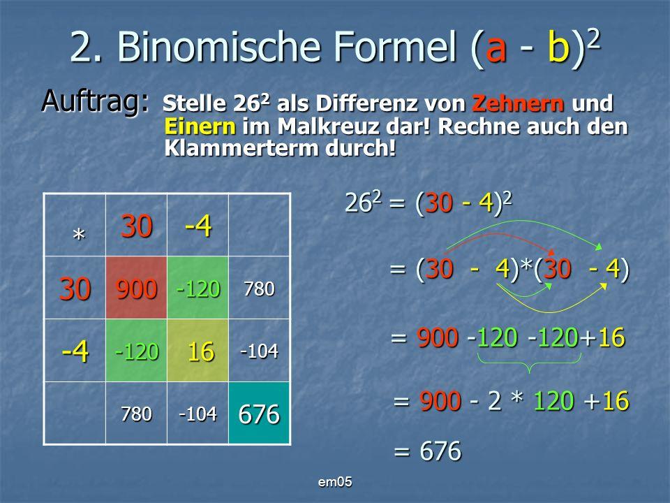 2. Binomische Formel (a - b)2