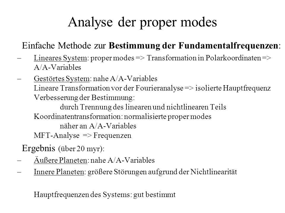 Analyse der proper modes