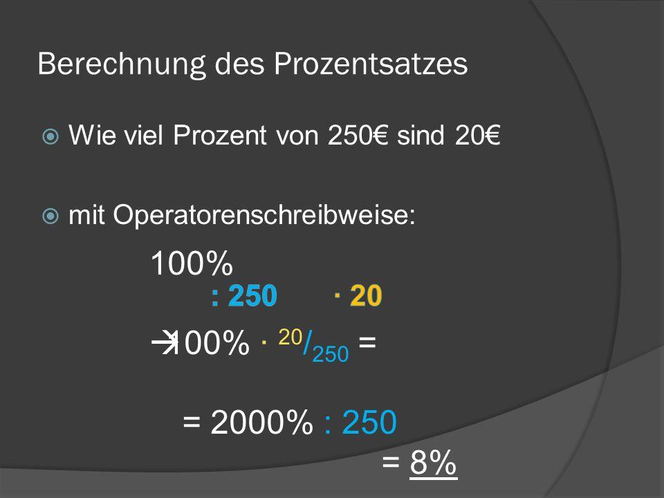 Berechnung des Prozentsatzes