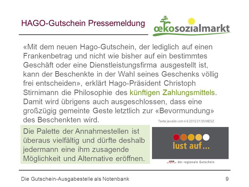 HAGO-Gutschein Pressemeldung