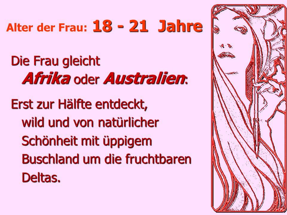 Die Frau gleicht Afrika oder Australien: