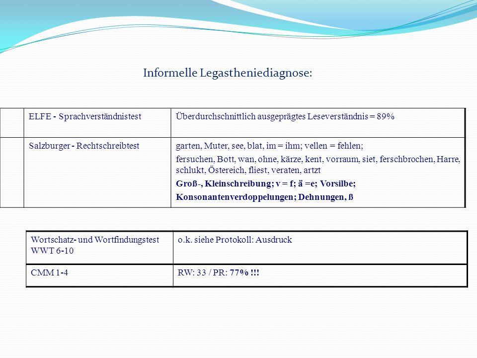 Informelle Legastheniediagnose: