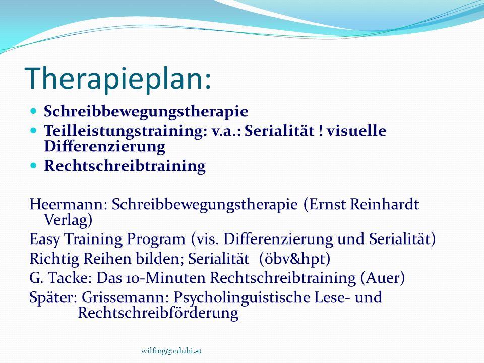 Therapieplan: Schreibbewegungstherapie