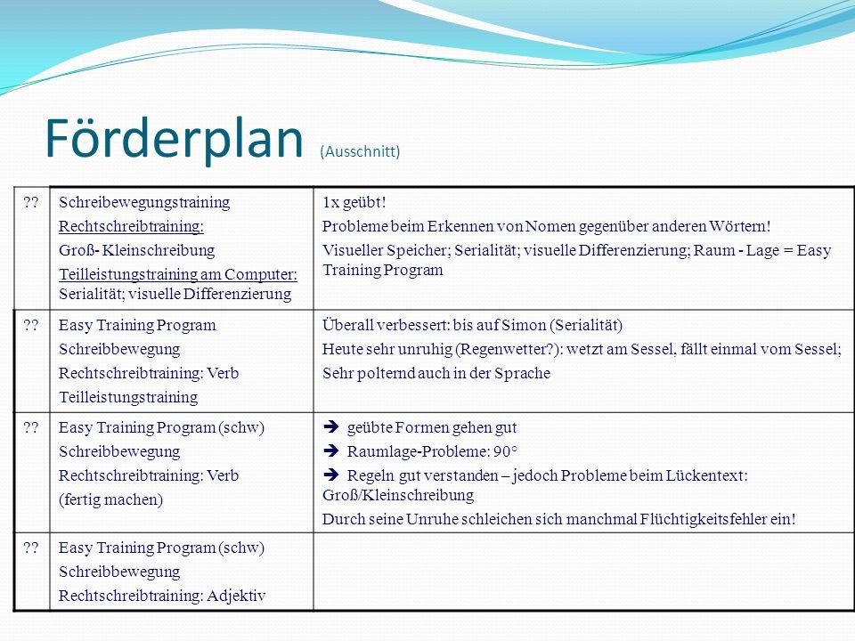 Förderplan (Ausschnitt)
