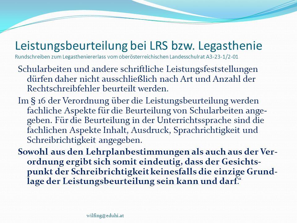 Leistungsbeurteilung bei LRS bzw