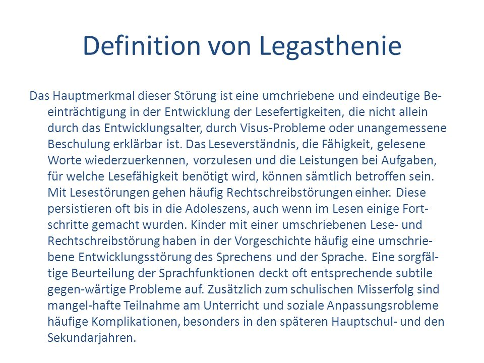 Definition von Legasthenie